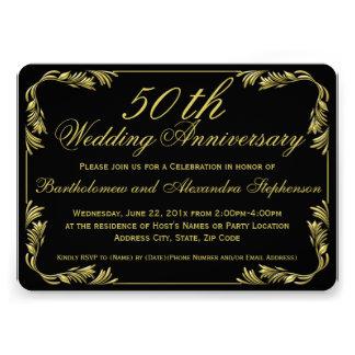Elegant Black/Gold 50th Wedding Anniversary Party Invites