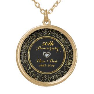 Elegant Black & Gold 50th Wedding Anniversary Round Pendant Necklace
