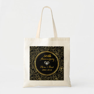 Elegant Black & Gold 50th Wedding Anniversary Tote Bag