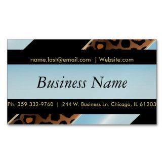 Elegant Black, Gold and Aqua Blue Leopard Stripes Business Card Magnet