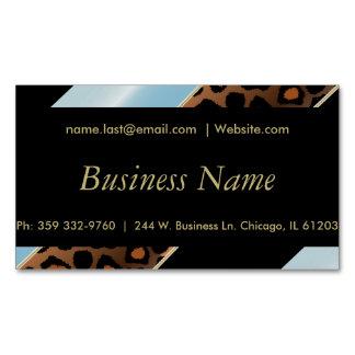 Elegant Black, Gold and Aqua Blue Leopard Stripes Magnetic Business Card
