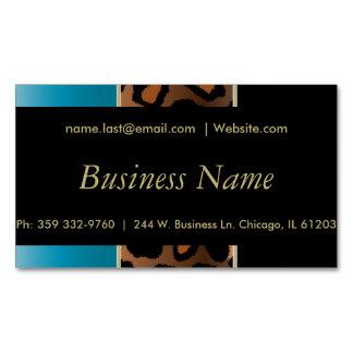 Elegant Black, Gold and Blue Leopard Stripes Magnetic Business Card