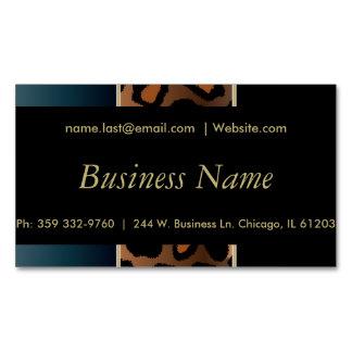 Elegant Black, Gold and Denim Blue Leopard Stripes Magnetic Business Card