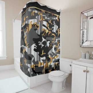 Elegant Black Gold And Silver Camouflage Shower Curtain