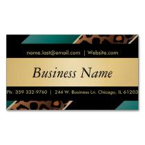 Elegant Black, Gold and  Teal Leopard Stripes Magnetic Business Card