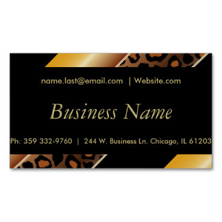 Elegant Black, Gold and Yellow Leopard Stripes Magnetic Business Card