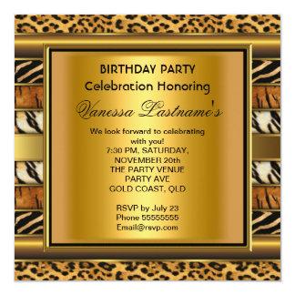 Elegant Black Gold Animal Prints Birthday Party Personalized Invite