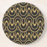 Elegant Black & Gold Art Deco Design Drink Coaster