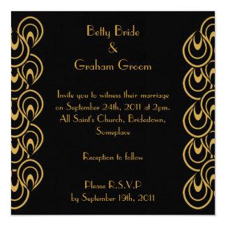 "Elegant Black & Gold Art Deco Linen Invites 5.25"" Square Invitation Card"
