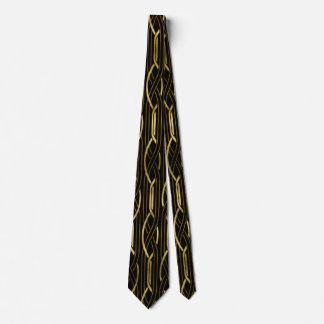 Elegant black gold art deco pattern tie