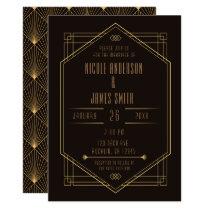 Elegant Black Gold Art Deco Wedding Marriage Invitation