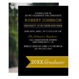Elegant Black & Gold Banner Photo Graduation Party Card