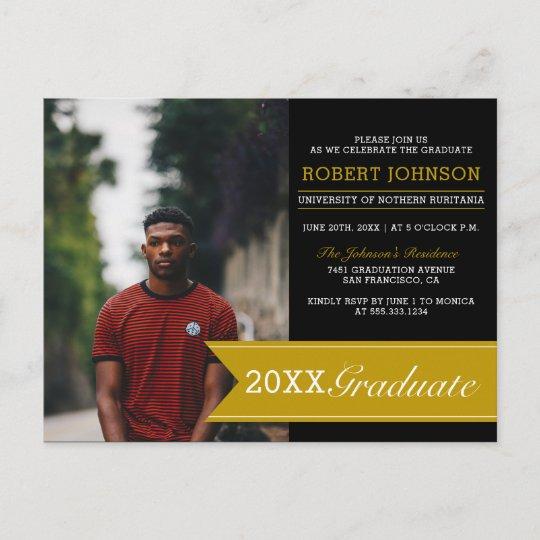 Elegant Black Gold Banner Photo Graduation Party Invitation Postcard