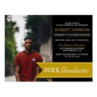 Elegant Black & Gold Banner Photo Graduation Party Postcard