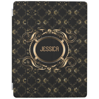 Elegant Black & Gold Baroque Floral Frame iPad Smart Cover