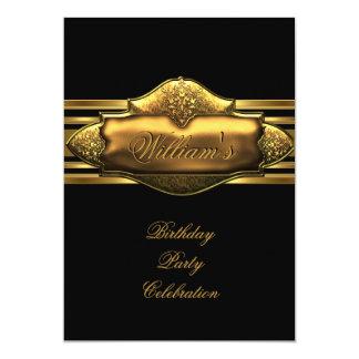 Elegant Black Gold Birthday Party Mens 60th Card