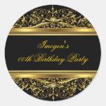 Elegant Black & Gold Birthday Sticker