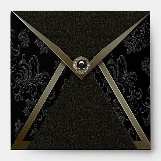Elegant Black Gold Black Envelope
