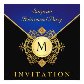 Elegant Black Gold Blue Monogram Invite 2