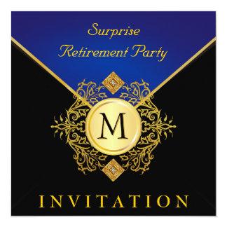 Elegant Black Gold Blue Monogram Special Occasion Personalized Invite