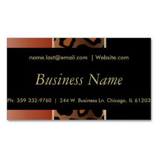 Elegant Black, Gold & Burnt Orange Leopard Stripes Magnetic Business Card