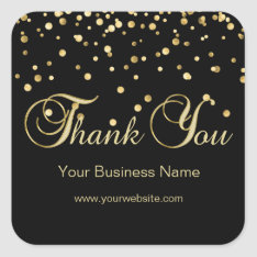 Elegant Black Gold Business Thank You Seals at Zazzle