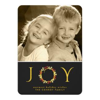 Elegant Black Gold Christmas Floral Wreath Photo 4.5x6.25 Paper Invitation Card