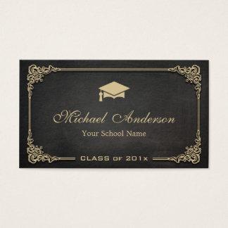 Elegant Black Gold Class of Graduate Student Business Card