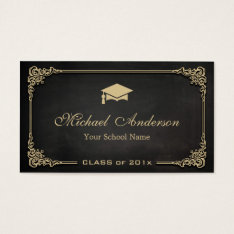 Elegant Black Gold Class of Graduate Student Business Card at Zazzle