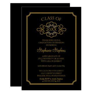 Elegant Black | Gold College Graduation Party Card