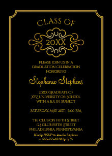 College graduation invitations zazzle elegant black gold college graduation party invitation filmwisefo
