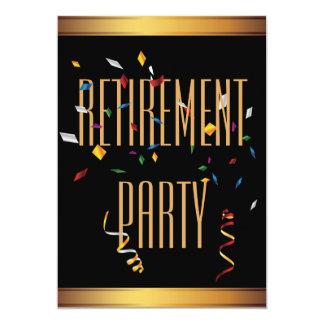 Elegant Black & Gold Confetti Retirement Party Card
