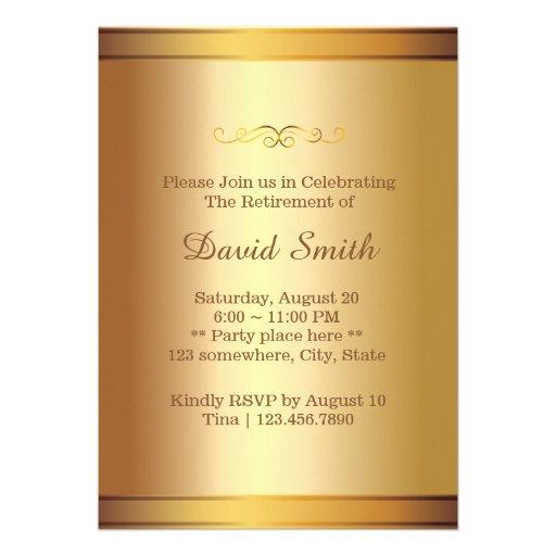 Elegant Black & Gold Confetti Retirement Party Custom Invitation (back side)