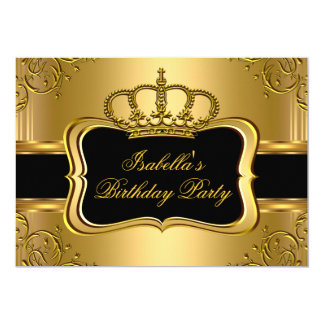 Elegant Black Gold Crown Floral Birthday Party 3 Card