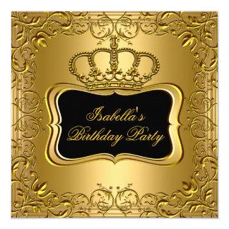 Elegant Black Gold Crown Floral Birthday Party Card