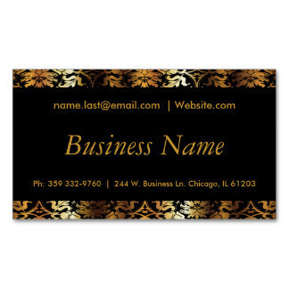 Elegant Black & Gold Damask Business Card Magnet