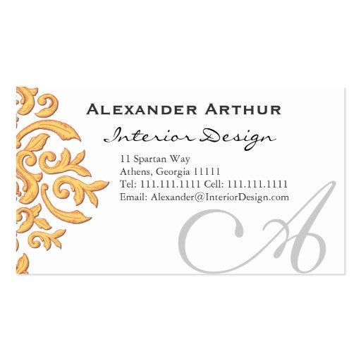 Elegant Black & Gold Damask Handsome Business Card