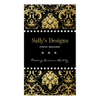 Elegant Black & Gold Damask Interior Designer Double-Sided Standard Business Cards (Pack Of 100)