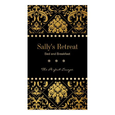 Elegant Black and Gold Damask Bed and Breakfast Business Cards