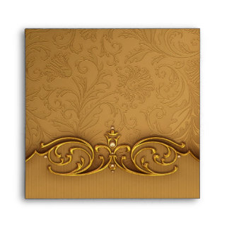 Elegant Black Gold Damask Linen Envelopes