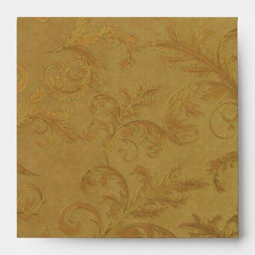 Elegant Black Gold Damask Linen Envelopes