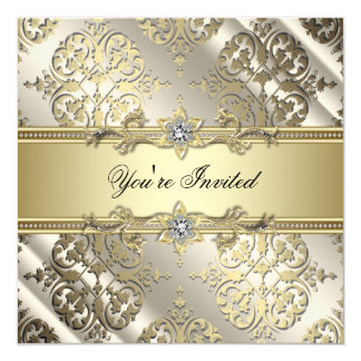 Elegant Black Gold Damask Party Card