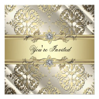 Elegant Black Gold Damask Party Personalized Announcements