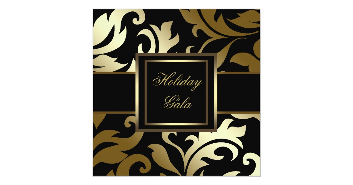 Elegant Black Gold Damask Party Invitations | Zazzle.com