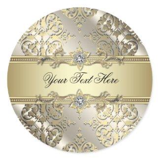 Elegant Black Gold Damask Stickers