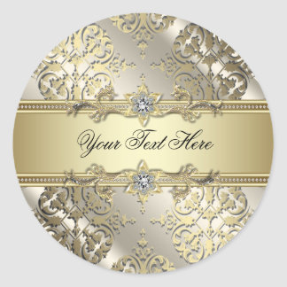 Elegant Black Gold Damask Stickers