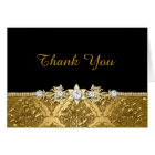 Elegant Black & Gold Damask Thank You Card