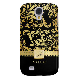 Elegant Black & Gold Damask with Monogram Galaxy S4 Covers