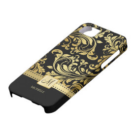 Elegant Black & Gold Damask with Monogram iPhone 5 Case