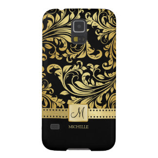 Elegant Black & Gold Damask with Monogram Galaxy S5 Case